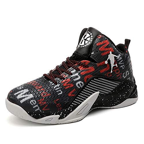 CXQWAN Chaussures de Course pour Homme, High Top Basketball Chaussures de Marche Sneakers Non-Slip Haute Elasticité Convient pour Venues en Plastique intérieur et extérieur,Noir,36