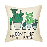 Fahrendom Farmhouse Décor Don't Be a Prick Cactus Funny Quote Summer Decoration Cotton Linen Home Decorative Throw Pillow Case Cushion Cover with Words for Sofa Couch 18 x 18 Inch