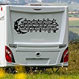 Pegatina para caravana, diseño con texto en alemán 'Ich bin nicht mehr dieselbe, seit ich den Mond auf der Anderen Seite der Welt', tamaño XL, aprox. 80 cm