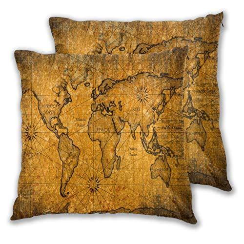 Funda de Almohada con Estampado 3D, Mapa del Mundo Vintage Grunge, Funda de Almohada Moderna para sofá, sofá, Cama, Coche, decoración del hogar, 18 'x 18', Funda de Almohada,Cremallera, 2 Piezas