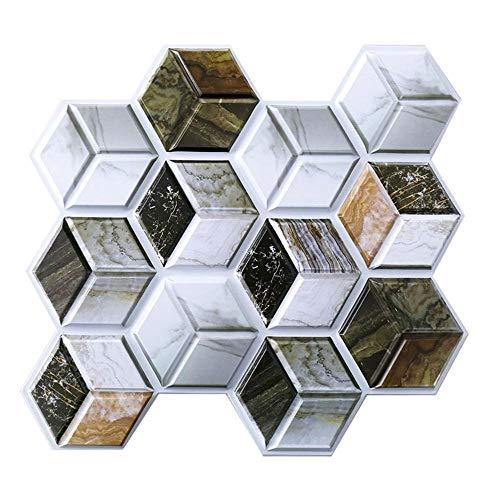 LICCC 10 unids Autoadhesivo Mosaico baldosas Pegatina de Pared Cocina decoración de baño decoración Vinilo Pegatinas de Pared Impermeable cáscara Palo PVC Panel (Color : 4)