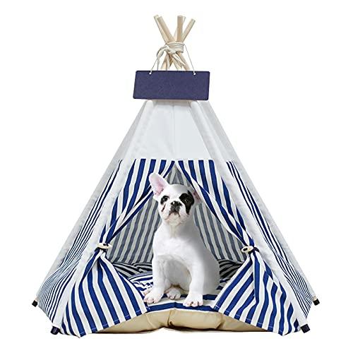 Tipi Zelt fur Haustiere-Pet Tipi Hunde-Katzenbett mit Kissen - Luxery Hundezelte und Haustierhäuser mit Kissen und Tafel (Blaue Streifen)