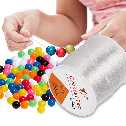 Filo Elastico per Braccialetti, ARPDJK 0.8mm Filo Nylon Trasparente per Appendere Decorazioni, Filo per Perline Resistente e Durevole per Collane