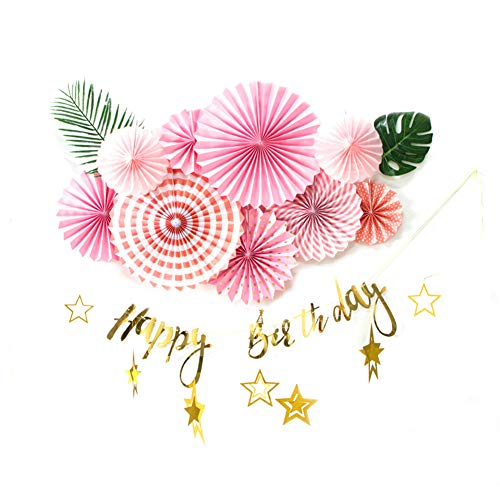 SUNBEAUTY Summer Birthday Decorations Tissue Paper Fans Decoration KIt Pink Gold Happy Birthday Bunting Banner Tropical Green Leaves Star Garlands for Girls Princess Kids Party Supplies