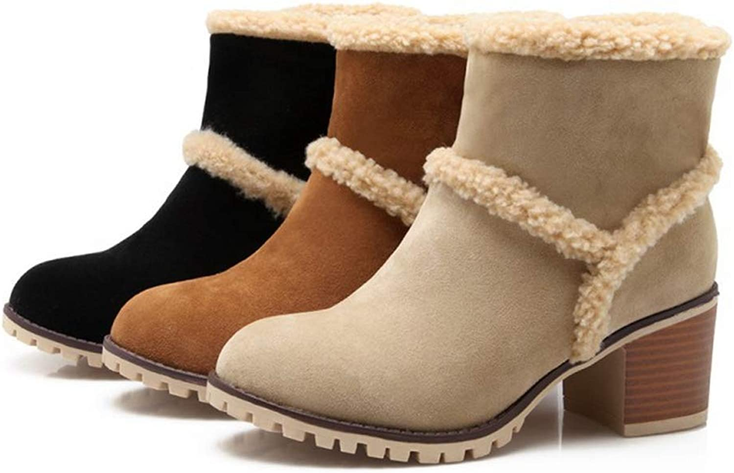 Beautiful - Fashion Women's Winter Warm Snow Boots Round Toe Short Boots Suede Slip On Chunky Heels Faux Fur Casual Ankle Booties