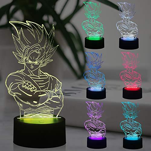 Lampe illusion 3D Dragon Ball Z Kakarot Veilleuse de chevet LED Acrylique Multicolore Lampe de table Son Goku Télécommande Lampe d'étude pour enfant Cadeau de Noël Cadeau d'amis fans (Dragon Ball)
