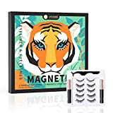 Magnetic Eyelashes with Eyeliner, 5 Pairs Magnetic Lashes Natural Look, 2 Tubes of Waterproof Magnetic Eyeliner, Reusable Magnetic False Eyelashes with Applicator