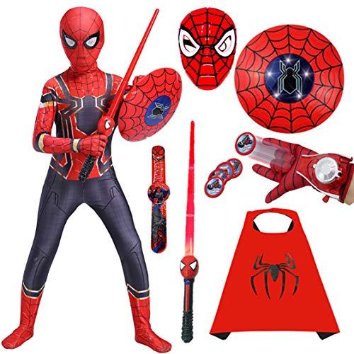 GUOHANG Spiderman Kostüme Kinder Superheld Spiderman Launcher Maske Schild Mantel und Lichtschärker Spiderman Spielzeug 7 Stück Anzug für Kinder Halloween Cosplay Kostüme Jumpsuit,A,110CM~120CM