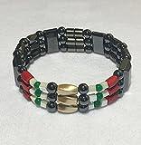 Iraq War Ribbon, Magnetic Hematite Therapy Bracelet, Unisex Magnetic Bracelet, High Power