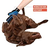 TRUE PET – Fellpflegehandschuh für Hund, Katze & Hase – Enthaaren, Baden & Massieren | Fellbürste für sensible Haut | Hundebürste & Katzenbürste für Mittel- & Kurzhaar | Fellkamm Striegel - 4