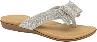 Dunlop Womens Flip Flops New Ladies Memory Foam Toe Post Slip On Beach Sandals