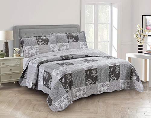 Brilliant Sunshine Country Garden Toile and Floral Patchwork, 3-Piece Quilt Set, Reversible Bedspread, Lightweight Coverlet, All-Season, King, Charcoal Gray