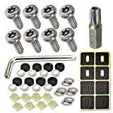 ZXFOOG Stainless Steel License Plate Screws- Rustproof Plate Screws for Fastening Front or Rear Plate Frame Holder Cover, License Plate Security Screw with Black Caps (Anti-Theft Self Tapping Screws)
