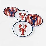 One Hundred 80 Degrees Melamine Seafood Plates, Set of 4 9' Dinner (Lobster)