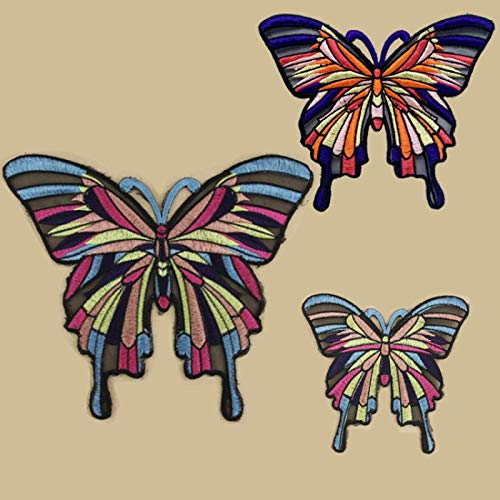 Iron on Patches/Sewing Patch,Patches for Clothes,Embroidery Applique, Color Large Butterfly 3pcs