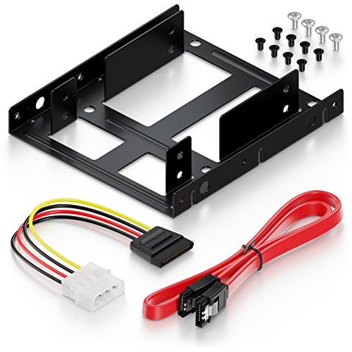 """deleyCON Einbaurahmen für 2,5\"""" Festplatte SSD auf 3,5\"""" - Adapter Festplatten Einbau Rahmen (bis zu 2X 2,5\"""" Festplatten HDD oder SSD) Wechselrahmen Halterung"""