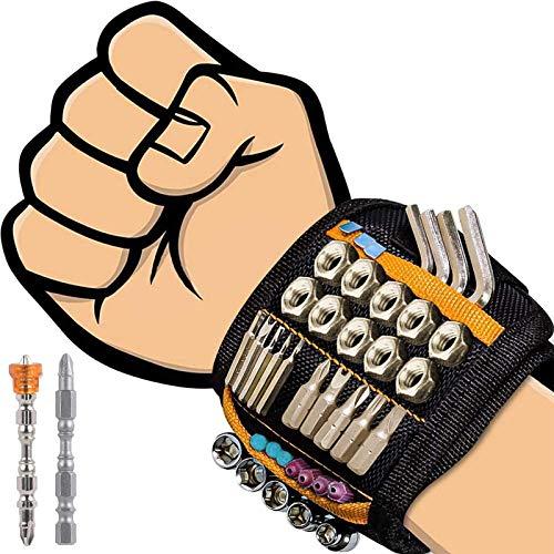 flintronic Magnetisches Armband, Magnetarmband Handwerker mit 20 Starken Magneten Magnetische Armbänder für Heimwerker/DIY Gadgets/Schrauben/Nägel Bohrernn (inkl 2 Magnetischer Schraubendreherkopf)