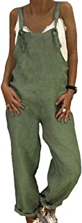 hongxin Donna Taglia Grossa Jumpsuit Dritta Jeans con Tasche Salopette Lunga Pagliaccetto da Mare Cachi Grigio Nero Blu Bl...
