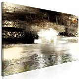 murando - Bilder Abstrakt 120x40 cm Vlies Leinwandbild 1 TLG Kunstdruck modern Wandbilder XXL Wanddekoration Design Wand Bild - Textur Struktur wie gemalt Gold beige braun schwarz weiß a-A-0729-b-a