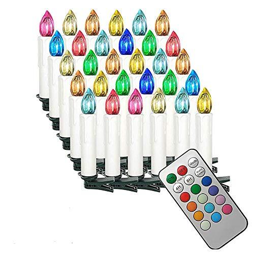 HENGMEI 30er LED Kerzen Weihnachtskerzen kabellos mit Fernbedienung und Batterie Christbaumkerzen Christbaumbeleuchtung RGB Flammenlose Weihnachtsbeleuchtung für Weihnachtsbaum, Hochzeit, Partys