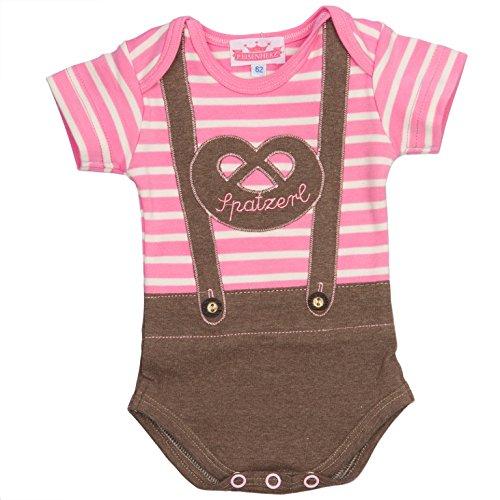 Bavariashop Baby-Body Lederhose Spatzerl, Rosa Kurzarmbody für Mädchen, gestreift mit Hosenträgern und Breze, EIN originelles Geschenk zur Geburt