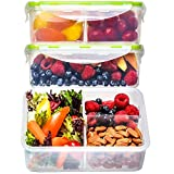 Bento Box Lunch Containers (3 Pack, 39 Ounces) - Bento Boxes for Adults, Lunch Boxes for Kids, 3...