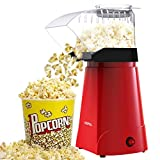 HIRIFULL 1200W Hot Air Popcorn Poppers Machine, Home Electric Popcorn Maker with Measuring Cup, 3 Min Fast Popping, ETL Certified, Oil Free, Great for Home Movie TV, Party (Red)