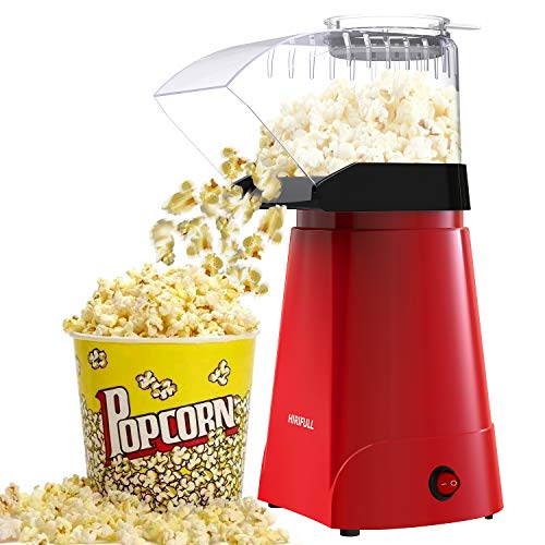 Product Image 1: HIRIFULL 1200W Hot Air Popcorn Poppers Machine, Home Electric Popcorn Maker with Measuring Cup, 3 Min Fast Popping, ETL Certified, BPA Free, No Oil, DIY Flavors, Great for Home Movie TV, Party(Red)