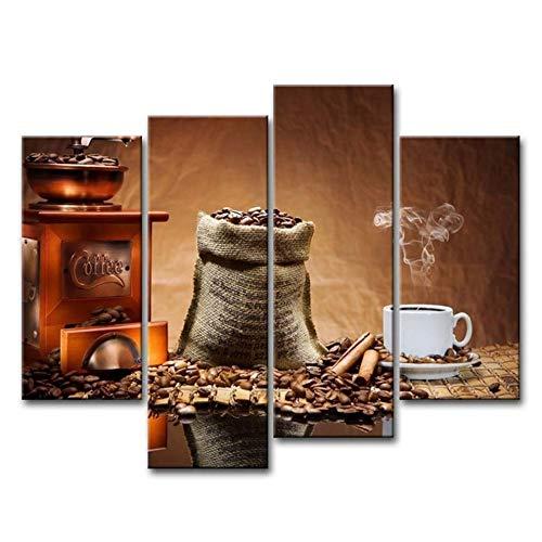 Muur Art Print Canvas Abstract Koffie Beker Foto's Print Op Doek Voedsel Afbeeldingen Decor Decoratie-40x80cmx2 40x100cmx2 Geen Frame