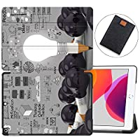 """MAITTAO Case for iPad 10.2 Inch 2019, Microfiber Lining Hard Back Shell with Auto Wake/Sleep, Slim Lightweight Trifold Smart Stand Cover for iPad 7th Generation 10.2"""" 2019,Creative Bulb 18"""
