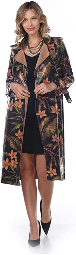 Aris A. Women's PU Leather Tropical Flower Print Slim Fit Long Trench Coat