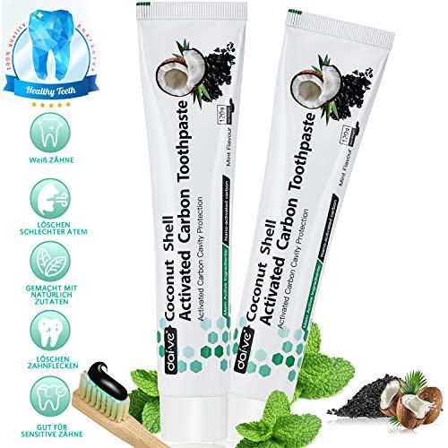 Aktivkohle Zahnpasta, Zahnaufhellung Schwarze Zahncreme 2 Packs, Natürliche Whitening Charcoal Toothpaste, Bleaching Kohle Zahnpasta Ohne Fluorid, Weisse Zähne Kokosnuss Aktivkohle Zahncreme