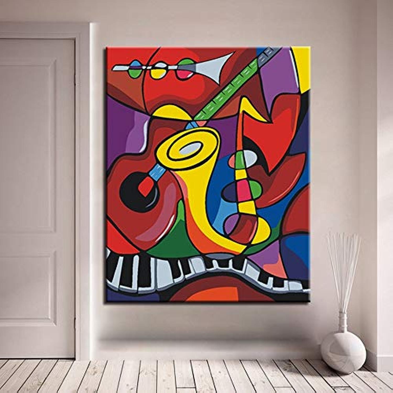 KYKDY DIY Malen Nach Zahlen Kits Farbeing Paint Framework Die Musikwelt Modern Home Dekorative Modulare Wandkunst Bild Geschenk, 50x65 cm DIY Kein Rahmen