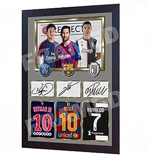 S&E DESING Lionel Messi Neymar Messi Cristiano Ronaldo Juventus Foto firmada con autógrafo Ronaldo Impreso sin Marco (13 x 10 Pulgadas)