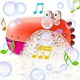Seifenblasenmaschine Badewanne, Baby Badespielzeug Bubble mit Musik, Dinosaurier Badewannenspielzeug Badespielzeug Automatischer Seifenblasen Badewanne Spielzeug Junge Mädchen ab 1 2 3 Jahre Orange