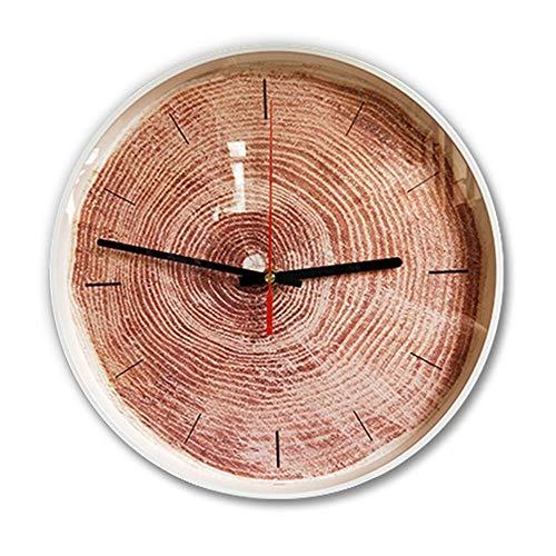 ChangHua1 Reloj de pared de 35,5 cm, color marrón rojizo, moderno y silencioso, reloj de pared creativo para dormitorio, reloj circular