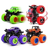 JVM 4WD Mini Monster Trucks Friction Powered Unbreakable Cars for Kids Big Rubber Tires Baby Boys Super Cars Blaze Truck Children Gift Toys (Set of 4)