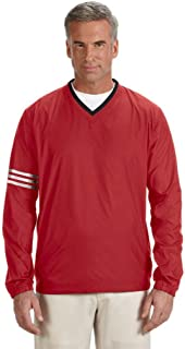 adidas Golf Men's ClimaLite(r) Colorblock V-Neck Wind Shirt>3XL UNVRSTY RED/BLCK