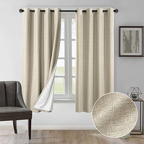 Rose Home Fashion Curtains 63 Inch Length, 100% Blackout Curtains(with Liner), Natural Linen Textured& Blackout Thermal Insulated Liner, Burlap Curtains for Bedroom/Living Room(50x63 Natural)