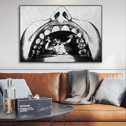 Diente anatómico Oficina Lienzo Pintura Dentista Humor Piedra Arte póster e impresión Imagen médica de Pared para Sala de Estar decoración del hogar 50x70cm-sin Marco