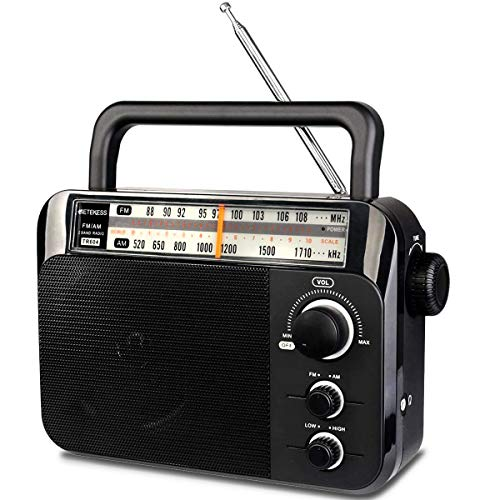 Retekess TR604 AM FM Radio, Portable Radios with Best Reception, AC or D Battery Powered Analog Radio, with Clear Dial and Large Knob, for Home(Black)