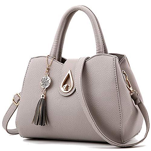 Women PU leather Mini Cute Tote Bags Small Top Handle Satchel Purses Shoulder Tassel Handbags for Ladies (light Grey)