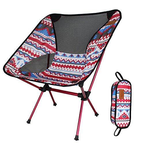 DZX Extérieure Ultra Léger Portable Pliant Chaise en Alliage D'aluminium Tissu Plastique Tabouret Plage Camping Pêche Occasionnel Esquisser Siège Arrière,Red