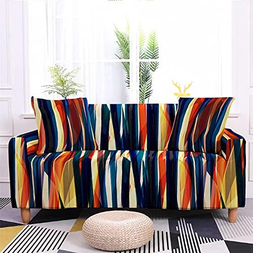 Meiju 3D Fundas de Sofá Elasticas de 1 2 3 4 Plazas, Leopardo Ajustables Cubierta de Sofá Cubre Sofa Antideslizante Funda Cubre Sofas Furniture Protector (Rayas de Colores,4 plazas - 235-300cm)