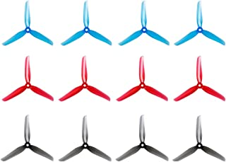 iFlight 12pcs Nazgul 5140 Tri-Blade Propeller 5 Inch Prop CW CCW for FPV Racing Quadcopter Frame Kit (Blue & Red & Gray)