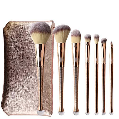 Maquillage Brosses 8 Pcs Pinceau De Maquillage Ensemble, Sirène Maquillage Brosses En Nylon Outils De Maquillage Des Cheveux Pinceaux Pinceau Poudre, Contour Angled,D'or
