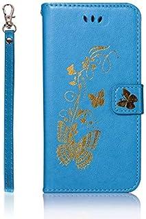 携帯電話アクセサリーHuawei社新星3iの花の蝶形のケースのハンドループ(カラー:ワインレッド)とカバーモノクロPUレザーケースシリコンカバー財布スタンドケースについては電話ケース - ブルー