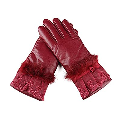 YEARSCALM Womens Lace Winter Plush Warm Lined Non-slip Screen Touch Leather Gloves
