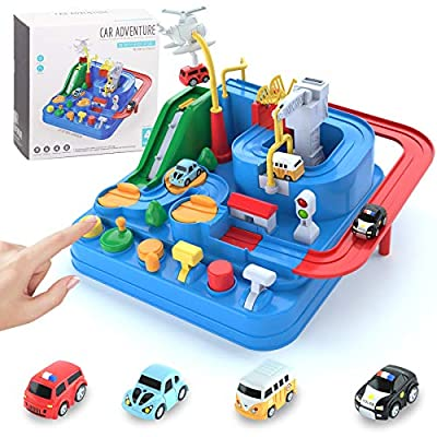 Car Adventure Toys for 3 4 5 6 7 8 Year Old Boys Girls, Race Tracks Toy for Boys with 4 Toy Vehicle, Preschool Educational Toy Car for 2 Year Old Boy, Interactive Classic Toys Vehicle, Blue by ENDA