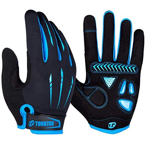 WACCET Vollfinger Fahrradhandschuhe Herren Radsporthandschuhe Mountainbike Handschuhe mit Touchscreen Finger, Atmungsaktiver rutschfeste MTB Handschuhe mit Gel für Männer und Frauen (Blau2, XL)